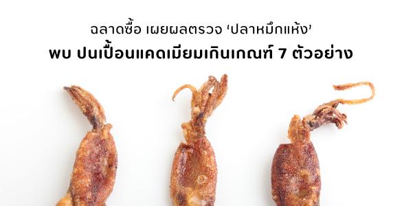 ฉลาดซื้อเผยผลตรวจ 'ปลาหมึกแห้ง' พบ ปนเปื้อนแคดเมียมเกินเกณฑ์ 7 ตัวอย่าง